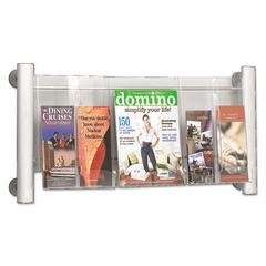 Luxe Magazine Rack, Three Compartments, 31-3/4w x 5d x 15-1/4h, Clear/Silver