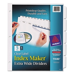 Print & Apply Clear Label Dividers w/White Tabs, 5-Tab, 11 1/4 x 9 1/4, 5 Sets