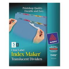 Avery Index Maker Print & Apply Clear Label Plastic Dividers, 5-Tab, Letter