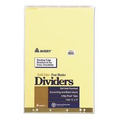 Post Binder Insertable Tab Dividers, 6-Tab, 11 x 17