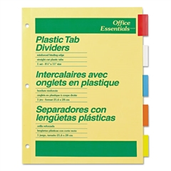 Office Essentials Plastic Insertable Dividers, 5-Tab, Letter