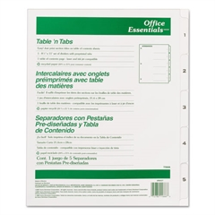 Office Essentials Table 'n Tabs Dividers, 5-Tab, Letter