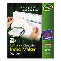 Avery Print & Apply Clear Label Dividers w/White Tabs, 12-Tab, Letter, 5 Sets