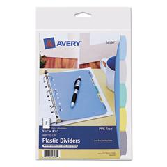 Write-On Standard Tab Plastic Dividers, 5-Tab, 5 1/2 x 8 1/2