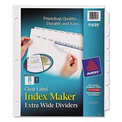 Avery Print & Apply Clear Label Dividers w/White Tabs, 8-Tab, 11 1/4 x 9 1/4