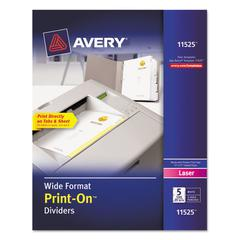 Avery Customizable Print-On Dividers, 5-Tab, 11 x 9, 25 Sets