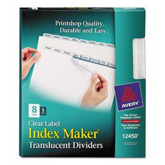Index Maker Print & Apply Clear Label Plastic Dividers, 8-Tab, Letter, 5 Sets
