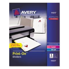Customizable Print-On Dividers, Letter, 5-Tabs/Set, 25 Sets/Pack