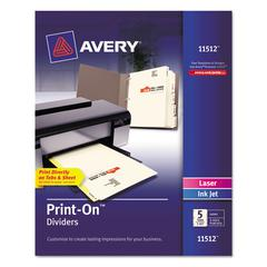Avery Customizable Print-On Dividers, 5-Tab, Letter