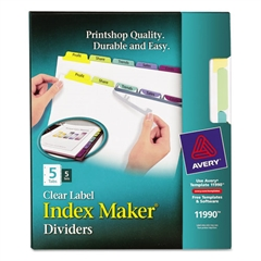 Avery Print & Apply Clear Label Dividers w/Color Tabs, 5-Tab, Letter, 5 Sets