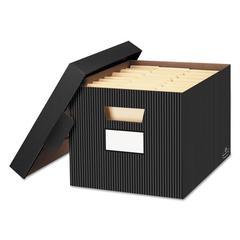 STOR/FILE Decorative Storage Box, Letter/Legal, Black/Gray, 4/Carton