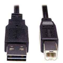 Reversible USB 2.0 Cable, Reversible A to B M/M, 6 ft