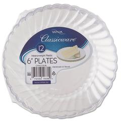"WNA Classicware Plastic Plates, 6"" Dia., Clear, 12 Plates/Pack, 15 Packs/Carton"