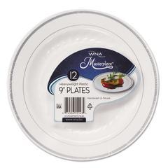 "Masterpiece Plastic Dinnerware, White/Silver, 9"", 10/Pack"