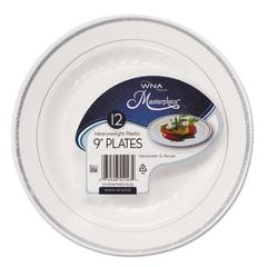 WNA Masterpiece Plastic Plates, 9 in, White w/Silver Accents, Round, 120/Carton