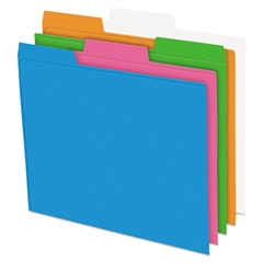 Glow Poly File Folders, 1/3 Cut Top Tab, Letter, Assorted Colors, 12/Pack