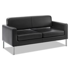 basyx VL888 Series Reception Seating Sofa, 67 x 28 x 30 1/2, Black SofThread™ Leather