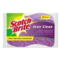 Stay Clean Non-Scratch Scrub Sponges, 3 3/16 x 7/8 x 4 3/4, Purple, 3/Pack