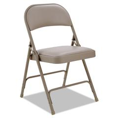 Steel Folding Chair with Two-Brace Support, Padded Back/Seat, Tan, 4/Carton