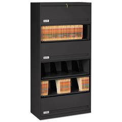 Tennsco Closed Fixed Shelf Lateral File, 36w x 16 1/2d x 75 1/4, Black