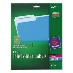 Clear File Folder Labels, 1/3 Cut, 2/3 x 3 7/16, 450/Pack