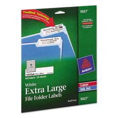 X-Large 1/3-Cut File Folder Labels w/TrueBlock, 15/16 x 3 7/16, White, 450/Pack