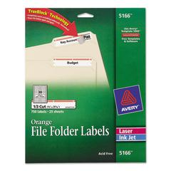 Avery Permanent File Folder Labels, TrueBlock, Inkjet/Laser, Orange Border, 750/Pack