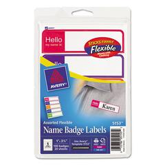 Flexible Self-Adhesive Mini Badge Labels, 1 x 3 3/4, Hello, Bright Asst, 100/PK
