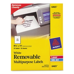 Removable Multi-Use Labels, 8 1/2 x 11, White, 25/Pack
