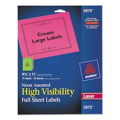 Avery High-Visibility Permanent ID Labels, Laser, 8 1/2 x 11, Asst. Neon, 15/Pack