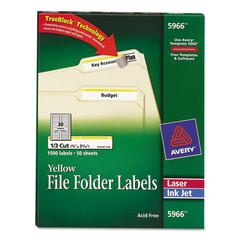 Permanent File Folder Labels, TrueBlock, Inkjet/Laser, Yellow Border, 1500/Box