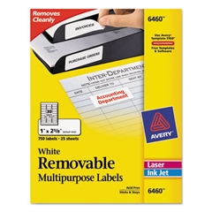 Avery Removable Multi-Use Labels, 1 x 2 5/8, White, 750/Pack