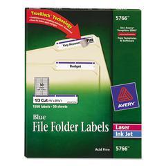 Permanent File Folder Labels, TrueBlock, Inkjet/Laser, Blue, 1500/Box