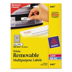 Avery Removable Multi-Use Labels, 1/2 x 1 3/4, White, 2000/Pack