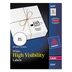 High-Visibility Round Permanent ID Labels, Laser, 2 1/2 dia, White, 300/Pack