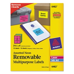 High-Visibility Removable ID Labels, Laser/Inkjet, 3 1/3 x 4, Asst. Neon, 72/PK