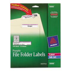 Permanent File Folder Labels, TrueBlock, Inkjet/Laser, Purple Border, 750/Pack