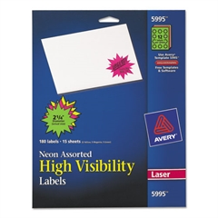 Avery High-Visibility Permanent ID Label Bursts, Laser, 2 1/4 dia, Asst. Neon, 180/PK