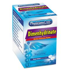 PhysiciansCare Dimenhydrinate (Motion Sickness) Tablets, 2/Pack, 50 Pack/Box