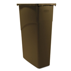 Rubbermaid Commercial Slim Jim Waste Receptacle, Rectangular, Plastic, 23gal