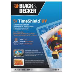 BLACK+DECKER TimeShield UV Laminating Pouches, 5 mil, 5 x 7, 25/Pack