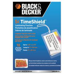 BLACK+DECKER TimeShield Luggage Tag Laminating Pouches, 5 mil, w/Loops, 10/Pack