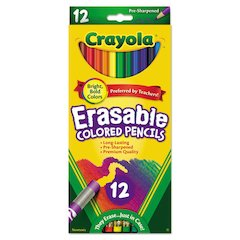 Crayola Erasable Colored Woodcase Pencils, 3.3 mm, 12 Assorted Colors/Box