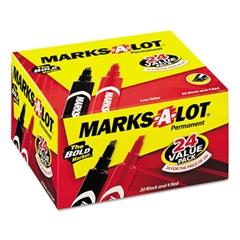 Marks-A-Lot Regular Desk Style Permanent Marker, Chisel Tip, Black, 24/Pack