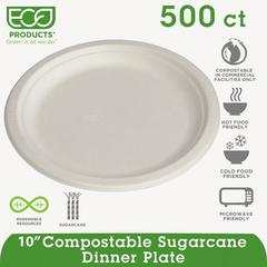 "Renewable & Compostable Sugarcane Plates - 10"" , 50/PK, 10 PK/CT"