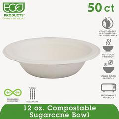 Renewable & Compostable Sugarcane Bowls - 12oz., 50/PK