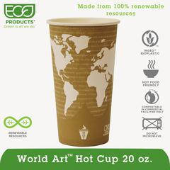 World Art Renewable & Compostable Hot Cups Convenience Pack - 20 oz., 50/PK