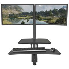 Up-Rite Desk Mounted Sit-Stand Workstation, Double, 27 1/8 x 30 x 42, Dark Gray
