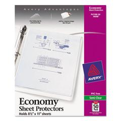 Avery Top-Load Sheet Protector, Economy Gauge, Letter, Semi-Clear, 50/Box
