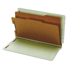 Pendaflex Pressboard End Tab Classification Folders, Six Sections, Legal, Green, 10/Box